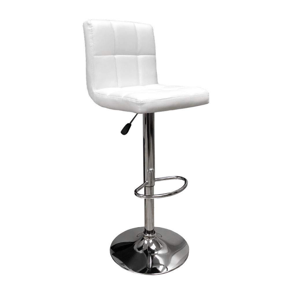 White Hexagrid Swivel Pu Leather Height Adjustable