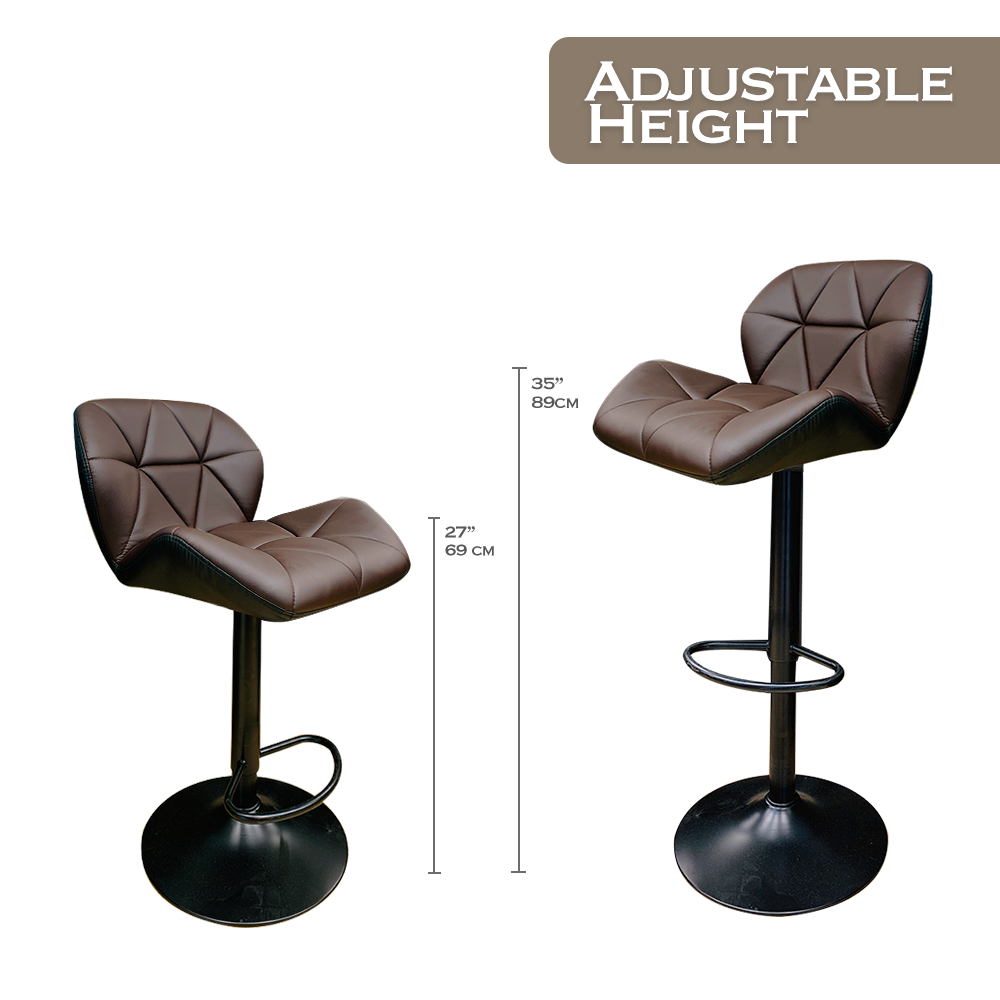 Deluxe Dark Brown Set Of 2 Height Adjustable Hydraulic Pu Leather Bar Stool For Pub Chair Kitchen Island Counter With Footrest And Enlarged Metal Base