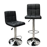Angel Canada Hexagrid Swivel PU Leather Height Adjustable Hydraulic Bar Stool Pub Chair Kitchen Island Counter, with Backrest & Footrest, Set of 2