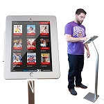 iPad Kiosk Floor Stand Enclosure w/ Security Lock & Charging Cable for iPad 2/3/4