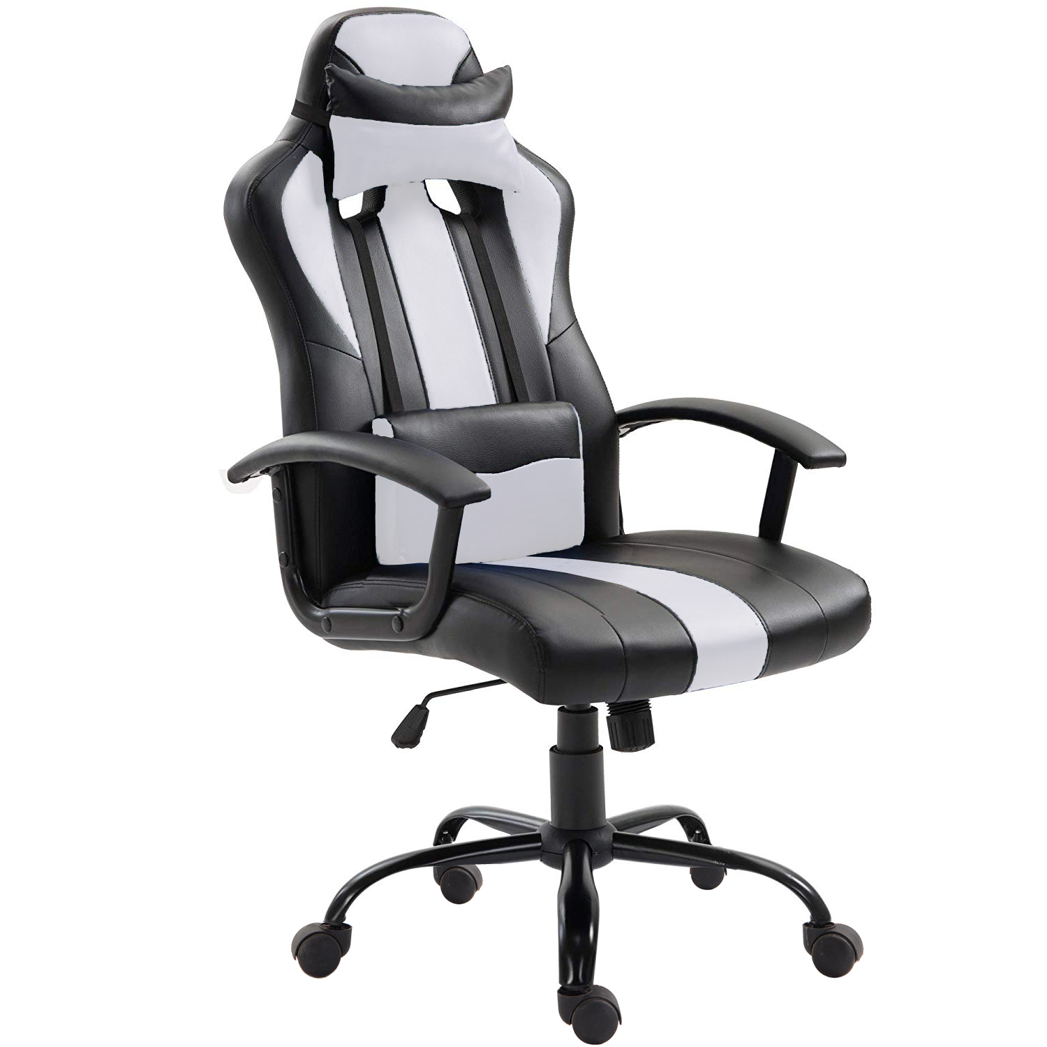 High Back Ergonomic Racing Car Style PU Leather upholstered Seat Gaming  Chair Removable headrest Pillow and Lumbar Cushion for Computer Desk,  Office,