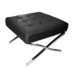 Modern Pavilion Ottoman - PU Leather with Stainless Steel Frame for Home, Living Space, Office (Black, Ottoman Only)