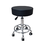 Deluxe Round Height Hydraulic Adjustable Rolling Stool, Great for Spa Facial Massage Tattoo Doctor Technician Office or Home use (Black with footrest)