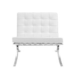 Modern Pavilion Lounge Chair Couch Sofa - PU Leather with Stainless Steel Frame for Home, Living Space, Office (White, Chair only)