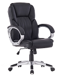 Angel High-Back Manager Executive Deluxe PU Leather Chair with Arms, Swivel & Tile, Ergonomic Design, Great for Home Office Task Computer PC Chair (Black)