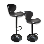 Angel Set of 2 Retro Black PU Height Adjustable Hydraulic Bar Stool Pub Chair Kitchen Island Counter, with Backrest