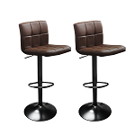 Dark Brown Set of 2 Swivel Hexagrid PU Leather Seat Height Adjustable Hydraulic Bar Stool for Pub Chair Kitchen Island Counter, with Footrest and Enlarged Metal Base