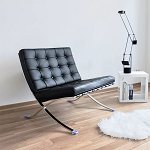 Modern Pavilion Lounge Chair Couch Sofa - PU Leather with Stainless Steel Frame for Home, Living Space, Office (Black, Chair only)