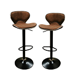 Angel Set of 2 Retro Brown Fabric Height Adjustable Hydraulic Bar Stool Pub Chair Kitchen Island Counter, with Backrest