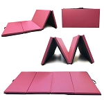 Angel 4-Panel PU Leather Folding Gym Mat with Handle for Fitness Exercise Aerobics Tumbling Stretching Yoga - Pink