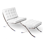 Modern Pavilion Lounge Chair Couch Sofa with Ottoman - PU Leather with Stainless Steel Frame for Home, Living Space, Office (White, Chair & Ottoman Set)