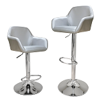 Modern Silver Set of 2 Height Adjustable Hydraulic PU Leather Bar Stool Pub Chair Kitchen Island Counter, with footrest