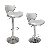Modern Silver Curved Seat Set of 2 Bar Stool Height Adjustable Hydraulic for Pub Chair Kitchen Island Counter, with Footrest and Enlarged Metal Base