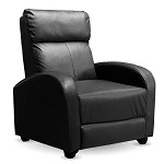 Manual Push Back Recliner Lounge Chair Couch Sofa - PU Leather for Home Theater Seating, Living Space, Office (Black)