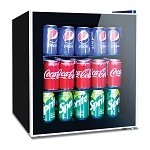 60 Can Beverage Refrigerator Cooler - Mini Fridge with Reversible Clear Front Glass Door for Beer Soda or Wine Drink Machine for Home, Office or Bar, 1.6cu.ft