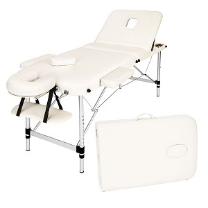 "3-Section Aluminum 84""L Portable Massage Table Facial SPA Bed Tattoo w/Free Carry Case (Cream White)"