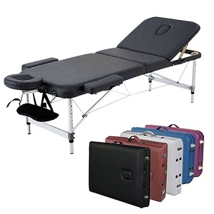 "3-Section Aluminum 84""L Portable Massage Table Bed w/ Carry Case - Great for Facial SPA Tattoo"