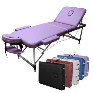 "3-Section Aluminum 84""L Portable Massage Table Facial SPA Bed Tattoo w/Free Carry Case (Purple)"