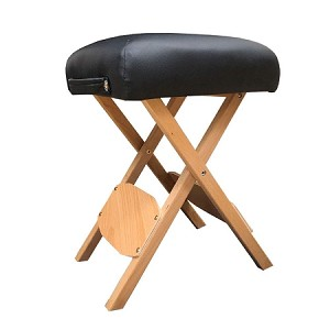Angel Handy Wooden Folding Bench Stool, Padded with thick Cushion, Portable & Lightweight with carry handle, Great for Massage Table Medical Spa Facial Salon Chair (Black)