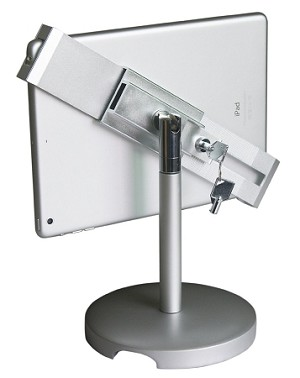 Universal Tablet Desktop Anti-Theft POS Stand Holder Enclosure with Lock & Key for Retail Kiosk