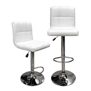 White Hexagrid Swivel PU Leather Height Adjustable Hydraulic Bar Stool Pub Chair Kitchen Island Counter, with Backrest & Footrest, Set of 2