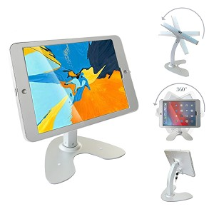Tablet Desktop Rotation Base Anti-Theft POS Stand, Compatible with 10.2' iPad Pro Holder Enclosure with Lock (2rd Generation (with Home Button))
