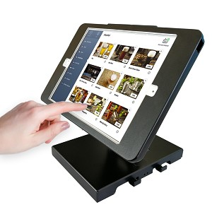 Desktop Anti-Theft POS Stand Holder Enclosure with Lock Compatible with iPad 10.2' (Black with Folding arm)
