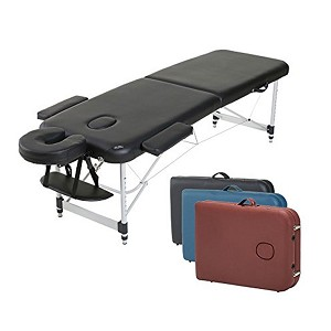 "2-Section Aluminum 84""L Portable Massage Table Bed w/ Carry Case - Great for Facial SPA Tattoo (Black/Blue/Red)"